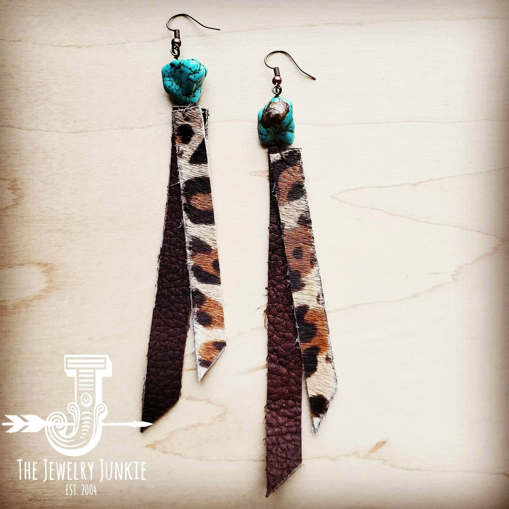 Leather Rectangle Earrings with Leopard and Turquoise