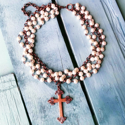 Pearl and Copper Cross Necklace