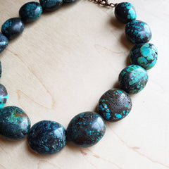 Puffed Oval Natural Turquoise Collar Necklace