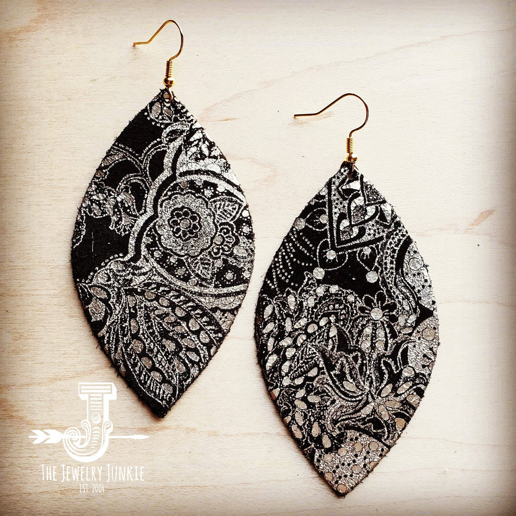 Leather Oval Earrings in Black and Gold Paisley