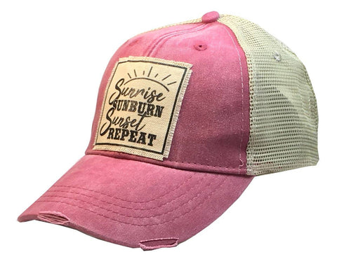 Sunrise Sunburn Sunset Repeat Distressed Trucker Cap