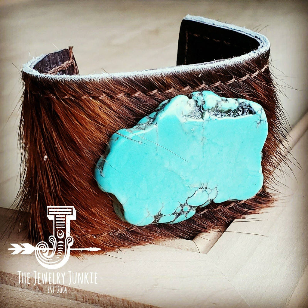 Leather Cuff with Tie - Dark Brown Hide and Turquoise Slab