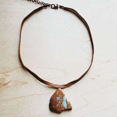Leather Necklace with Aqua Terra Slab Pendant