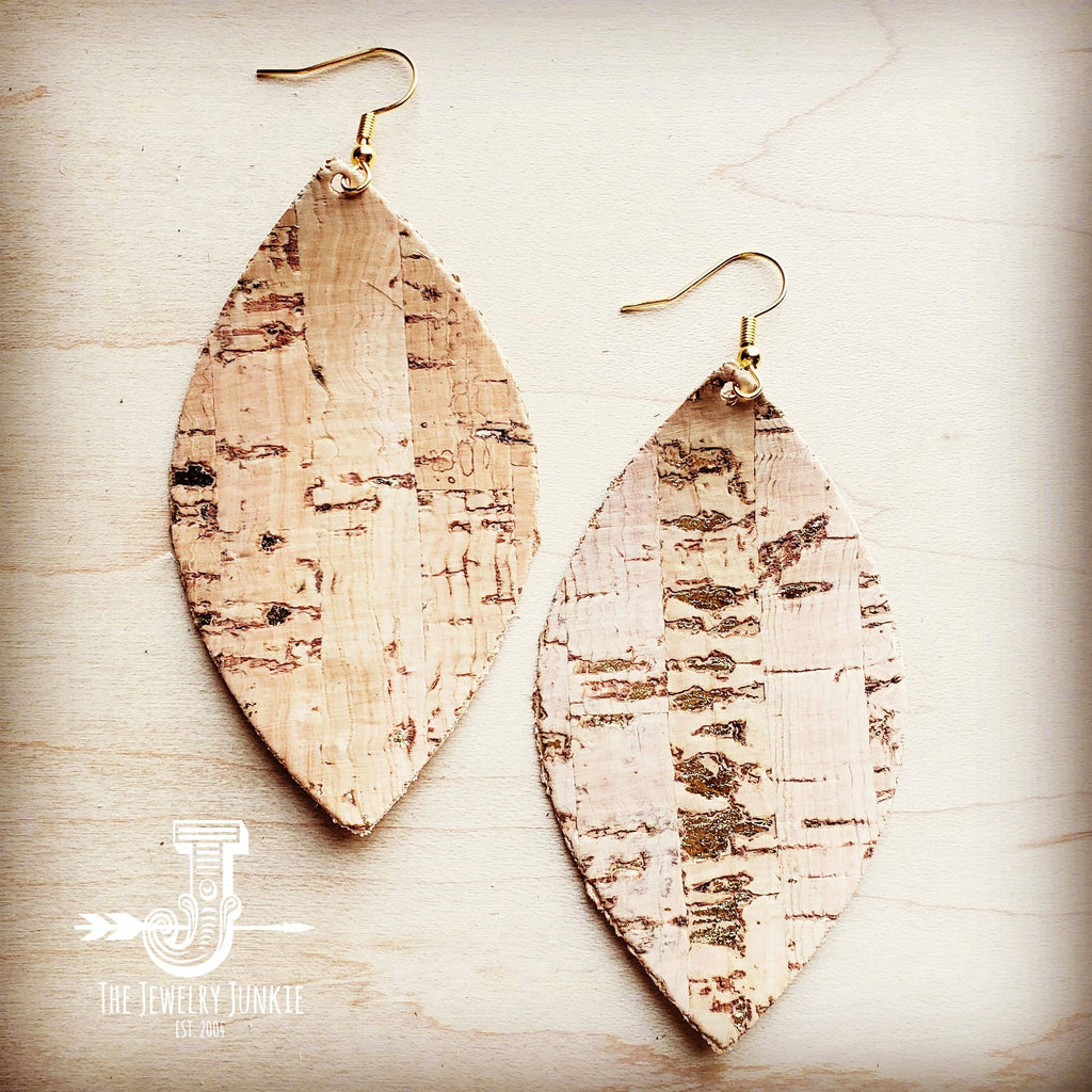 Cork Oval Earrings with Gold Flecks