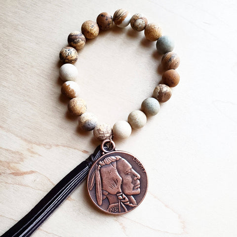 Frosted Picture Jasper Bracelet with Indian Head Coin and Tassel