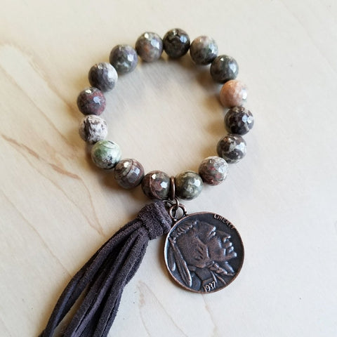 Faceted Brown Ocean Agate Bracelet with Indian Head Coin