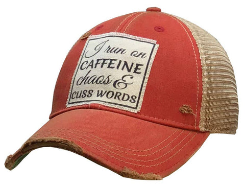 Caffeine Chaos & Cuss Words Distressed Trucker Cap