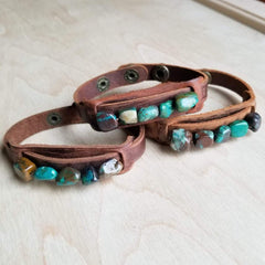 Dusty Leather Narrow Cuff with African Turquoise Chunks