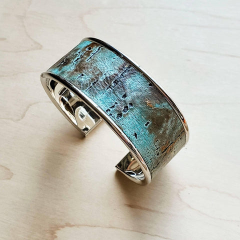 Narrow Cuff Bangle Bracelet in Turquoise Metallic Leather