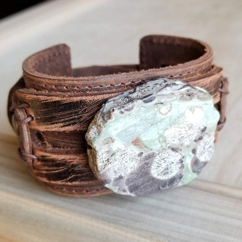 Brown Ocean Agate on Dusty Leather Cuff Bracelet