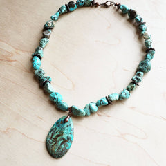 Chunky Turquoise Necklace with Natural Teardrop Pendant