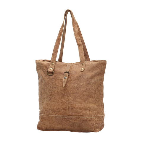 Button Leather Tote Bag