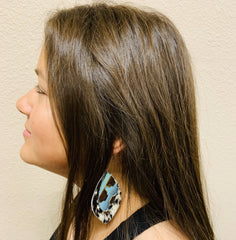 Leather Oval Gray Hide Earrings with Blue Navajo Accents