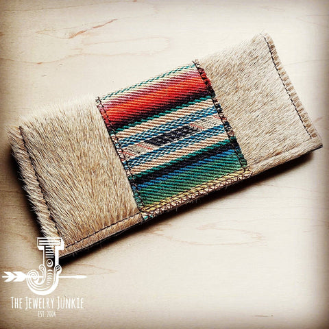 Hair-on-hide Leather Wallet with Serape Accent - Multi