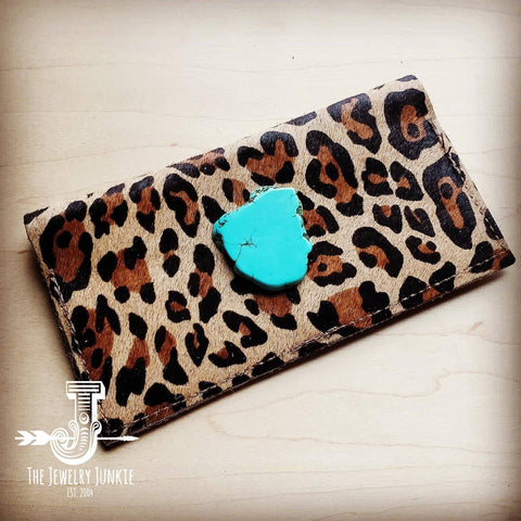 Hair-on-hide Leather Wallet - Leopard with Turquoise Slab