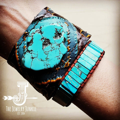 Leather Cuff with Tie - Blue Navajo