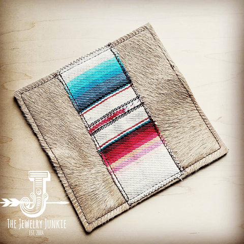 Hair-on-hide Leather Wallet with Serape Accent - Mixed