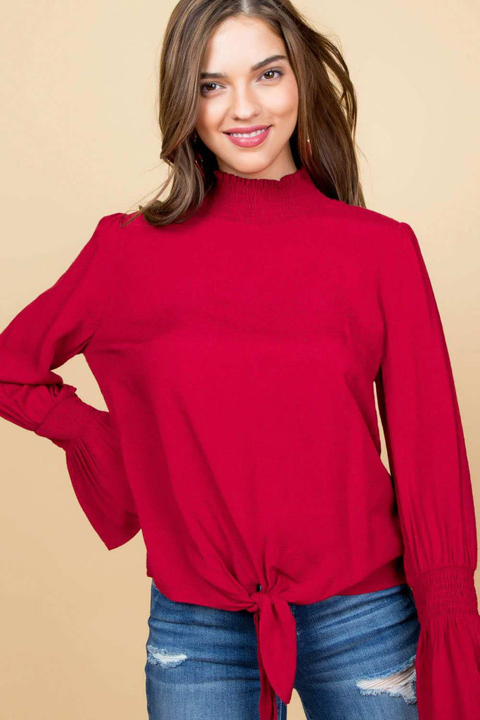 Smocking Mock Neck Long Ruffle Sleeve Top