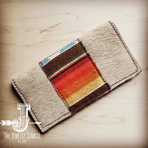 Hair-on-hide Leather Wallet with Serape Accent - Brown