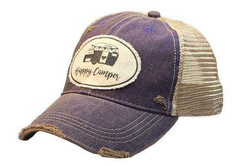 Happy Camper Distressed Trucker Cap