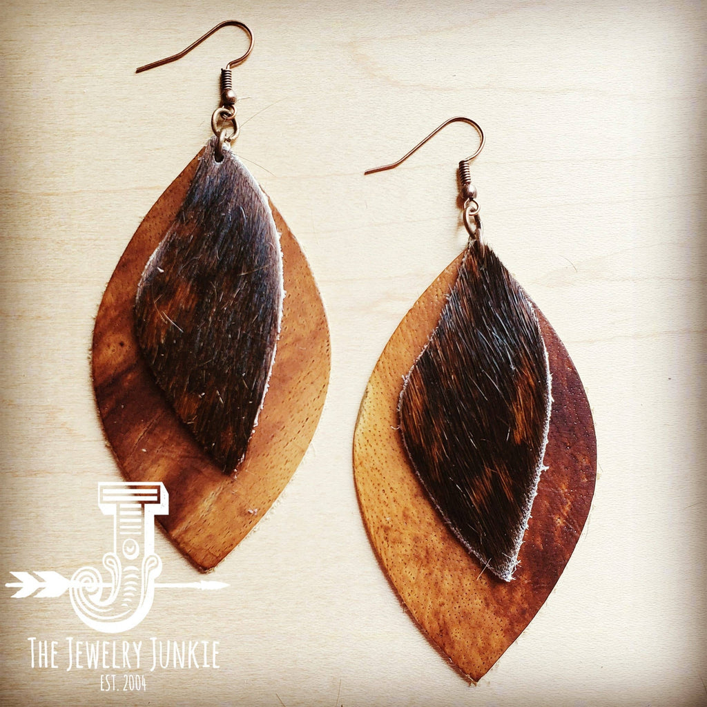 Leather Oval Tan Earrings with Brown Hair-on-Hide Accents