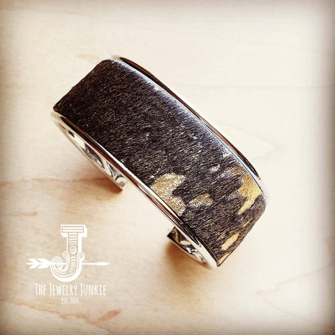 Narrow Cuff Bangle Bracelet in Mixed Metallic