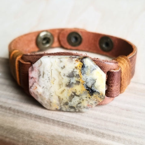 Agate Slab Dusty Leather Cuff