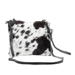 Myra Cowhide Crossbody Bag (Black)