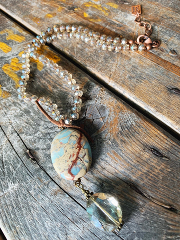 Champagne Crystal & Amazonite Necklace