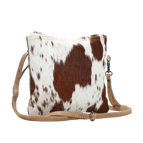 Myra Cowhide Crossbody Bag (Brown)