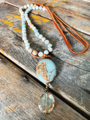 Adelaide Amazonite & Leather Necklace