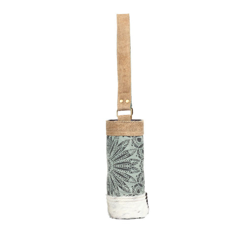 Olive Floral Wine Bag (Cowhide)