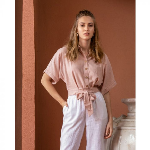 MB Peach Button Down Top