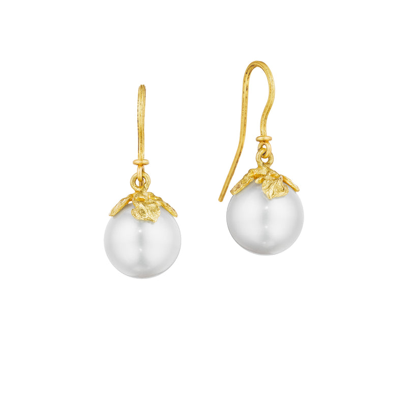 White Pearl Branch French Wire Earrings
