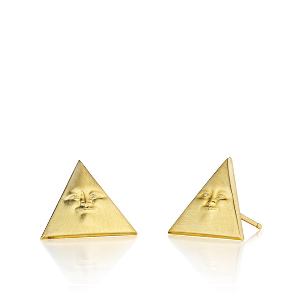 Triangleface Studs with Diamond Eyes