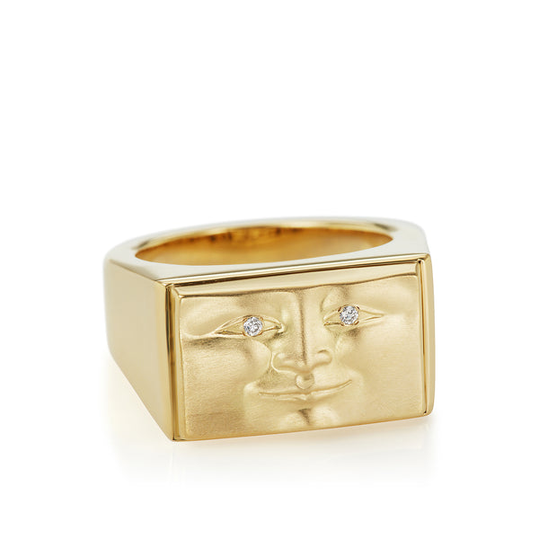 Solid Gold Brickface Signet Ring