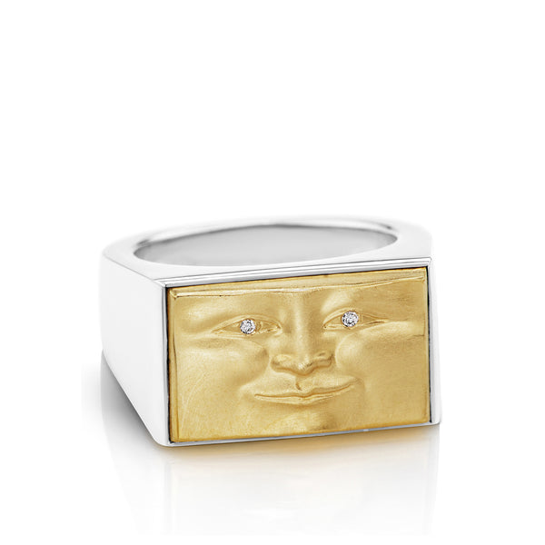 Gold and Silver Brickface Signet Ring