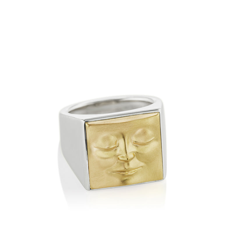 Square Face Ring With Closed Eyes