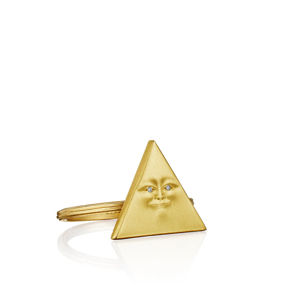 Gold Triangleface Stacking Ring