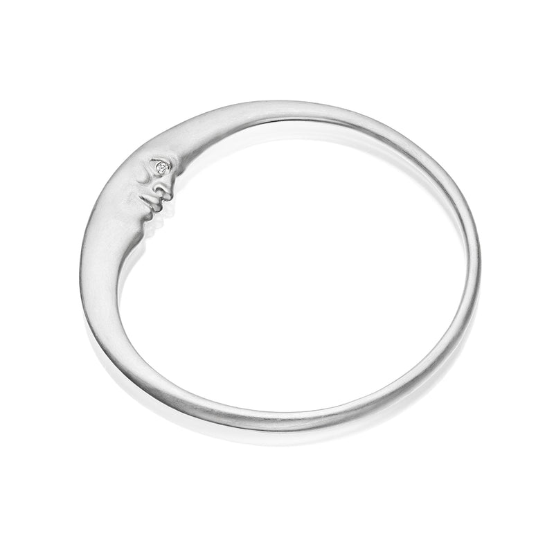 Sterling Silver Crescent Moonface Bangle