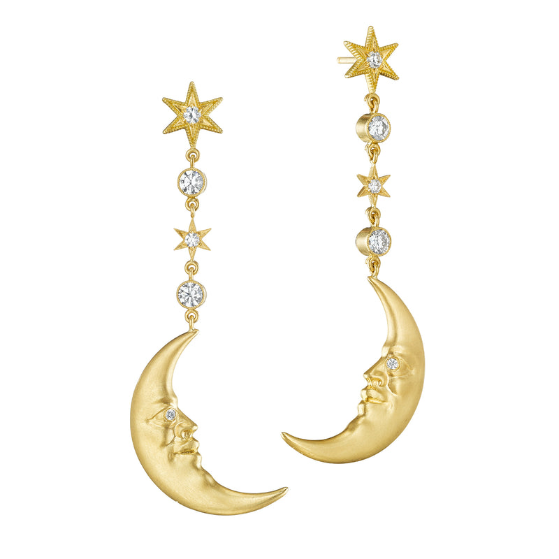 Hanging Crescent Moonface Earrings with Diamond Eyes