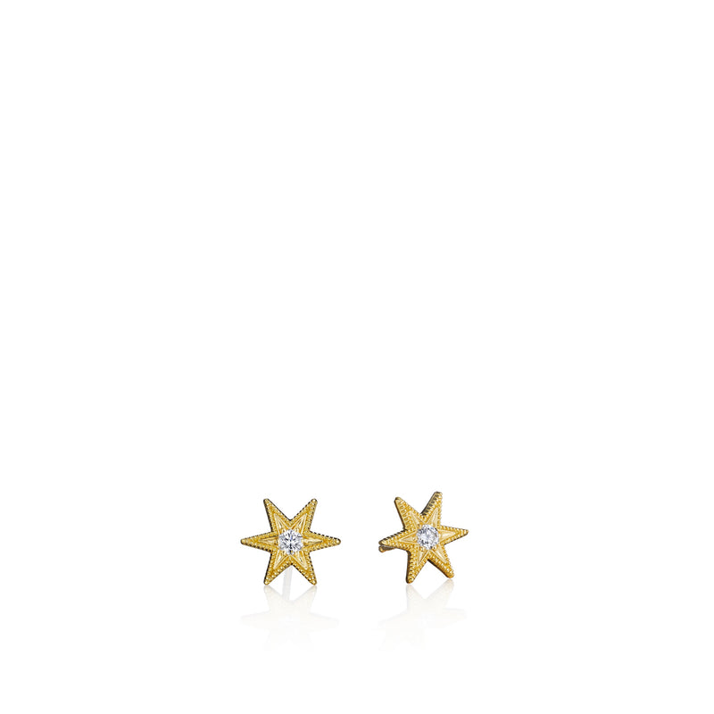 Tiny Six Point Star Stud Earrings
