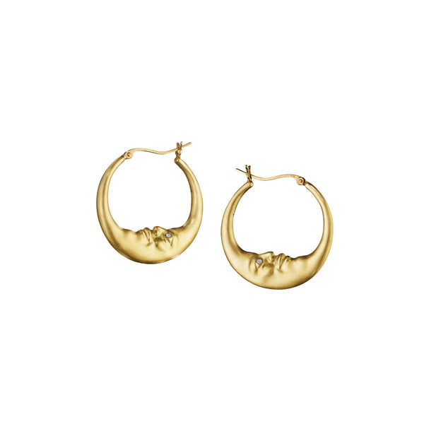 Small Crescent Moon Hoop Earrings (18mm)