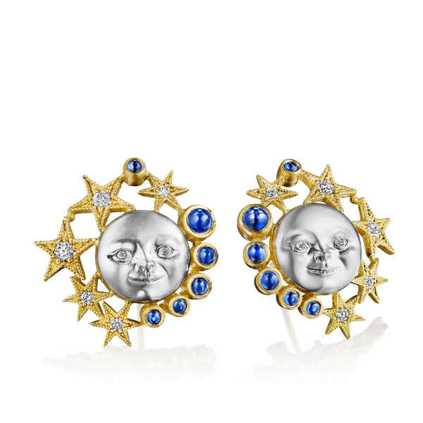 Sapphire Moonface Constellation Button Earrings