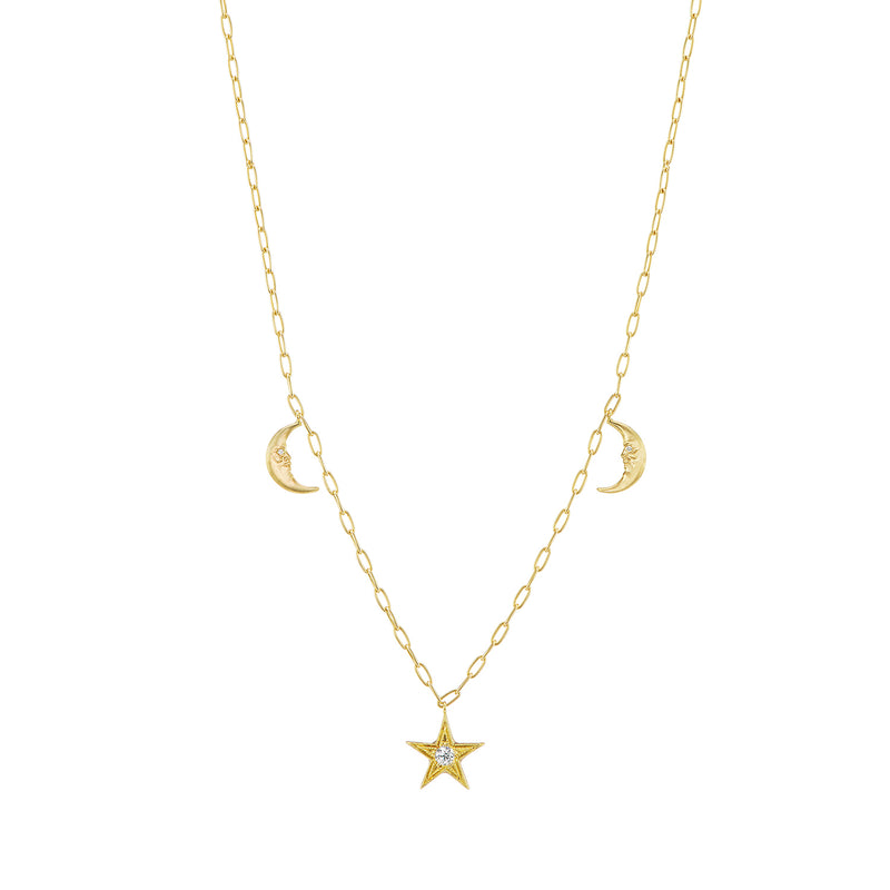 Crescent Moon Star Celestial Charm Necklace