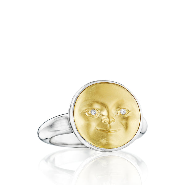Gold and Silver Small Moonface Ring