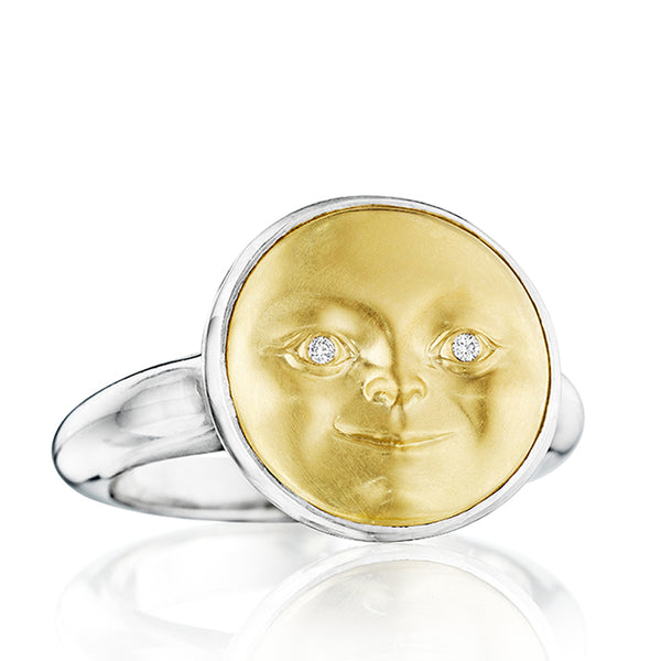 Gold and Silver Moonface Ring