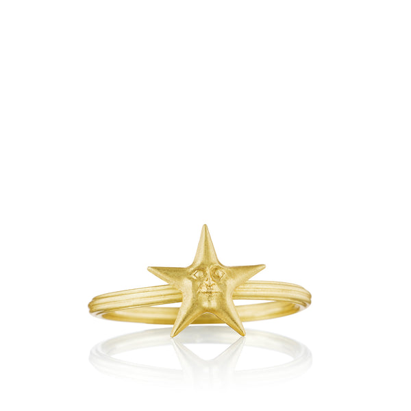Gold Starface Stacking Ring