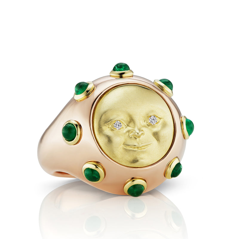 Moonface and Diamond Signet Ring