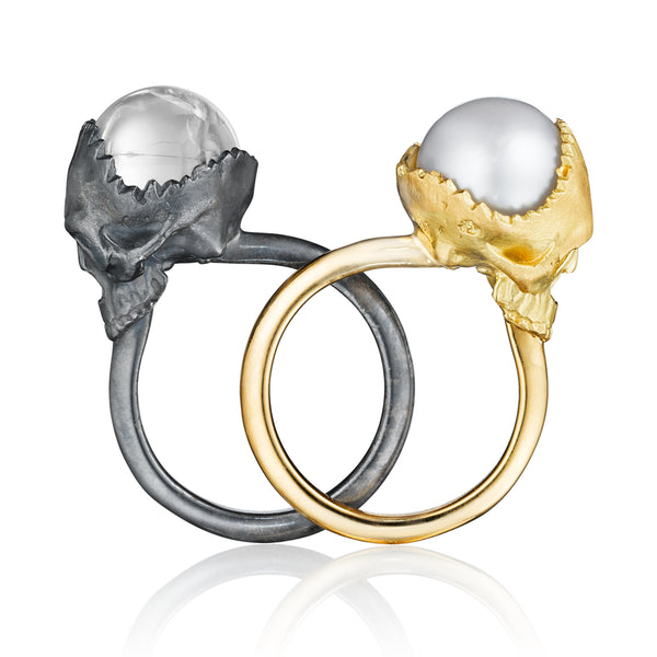 Black Silver Open Skull Ring